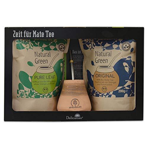 Geschenkset Delicatino Keramik - Natural Green - Original - Mate Becher Keramik - Bombilla