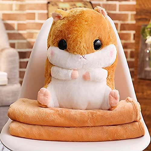 XINQ 40 cm Nette Hamster Plüschtiere Gefüllte Tiere Hamster mit Decke 3 in 1 Winter Handwärmer Maus Puppen Für Kinder Mädchen Geschenk Toy mitHandwarmer Grau (Color : Gray, Size : Toywithhandwarmer)