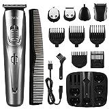ATMOKO 5 en 1 cortadora de barba para hombres, recortadora facial sin cuerda para la nariz y el arreglo para el cuerpo, kit de precisión impermeable recargable por USB con 5 cuchillas de cerámica