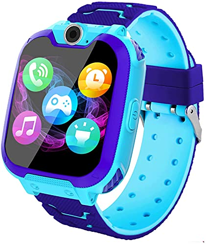 Reloj Inteligente para Niños, Smartwatch para Niños Game Watch 7 Juegos SOS Llamada Música Cámara Grabadora para 3-12 Niño Niña, Reloj de Pulsera Digital para Niños De 3-12 Años Tarjeta, Azul