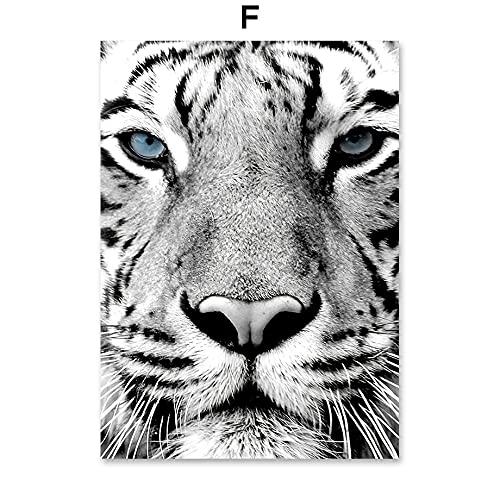JHGJHK Exquisito Tigre Jirafa león Negro Blanco Animal Pared Arte Lienzo Pintura Cartel nórdico Impresiones Sala de Estar decoración Pintura Pared