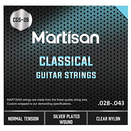 MARTISAN klassische Gitarrensaiten Konzertgitarre, Saiten aus Nylon und Silber für klassische Gitarre Normal Tension, 028/043, 6 Saiten Set