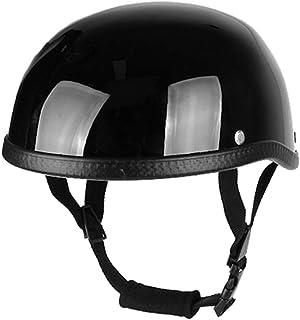 Romacci Estilo Retro Meio Capacete de Motocicleta ABS + Algodão Plástico Cap- Preto Brilhante para Motociclista Motociclis...