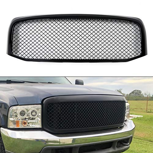 ECOTRIC Front Mesh Style Grille Compatible with Ford 1999-2004 F250 F350 Super Duty Black ABS Replacement