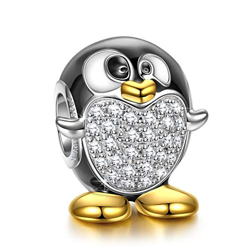 NINAQUEEN Charm Adattarsi Pandora Il miglior Regalo per la Mamma I Gioielli della Mamma Animali Pinguino Argento 925 Smalto Perline