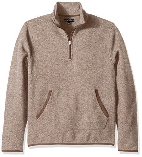 J.Crew Mercantile Men's Fleece Half-Zip Pullover, Heather Flax, L