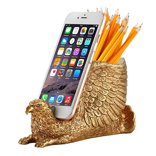Pen Pencil Holder with Phone Stand, Coolbros Resin Shaped Pen Container Cell Phone Stand Carving Brush Scissor Holder Desk Organizer Decoration for Office Desk Home Decorative (Eagle)