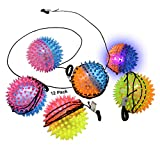 Flashing Light-Up Spiky Balls with string attached to hand | Kids LED Ball Toys FOR Kids party favors goodie bags (12 Pack)