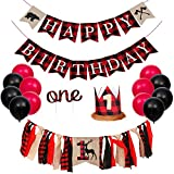 PRATYUS Lumberjack First Birthday Party Decoration, Buffalo Plaid Camping Wild Bear 1st Party Supplies With Birthday Banner and Garland,Baby Crown Hat and Cake Topper for Baby Girl Boy Photo Booth Props