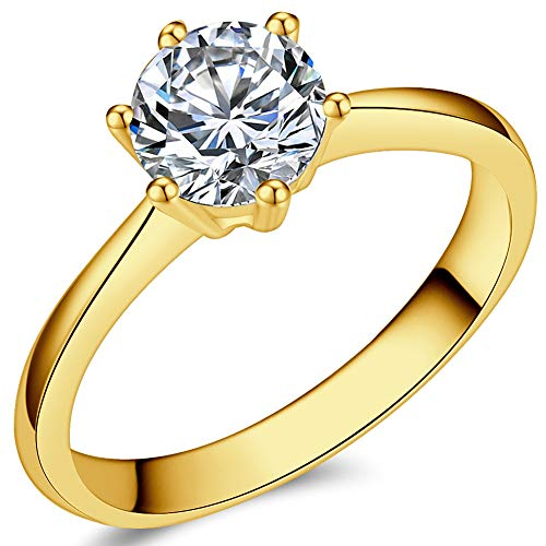 1.0 Carat Classical Stainless Steel Solitaire Engagement Ring (Gold, M)