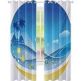 Cortinas de bloqueo de luz, olas de mar exóticas en marco de fauna con gaviotas y árboles de coco, cortinas de ventana de 52 x 95 para sala de estar, azul amarillo