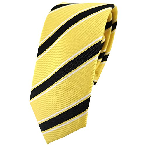 TigerTie - corbata estrecha - amarillo negro blanco rayas