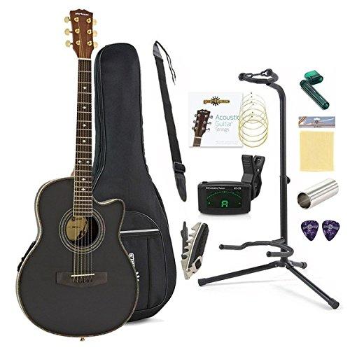 Set Completo de Guitarra Electroacústica Roundback de Gear4music Negra