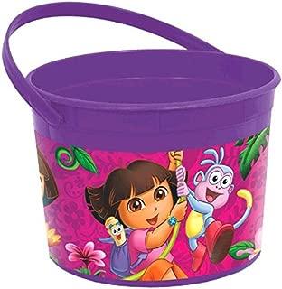 Amscan Colorful Dora's Flower Adventure Plastic Favor Container (1 Piece), Purple/Pink, 4 1/2 x 6 1/4