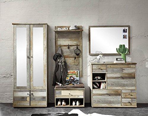 moebel-guenstig24.de Garderobe Bonanza 5-TLG Garderobenschrank Paneel Spiegel Schuhkommode Bank Driftwood Nachbildung