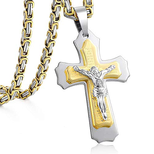 Trendsmax Jesus Cross Collana ciondolo per uomini inossidabile acciaio zinecologia scatola scatola porta collana uomini gioielli regalo