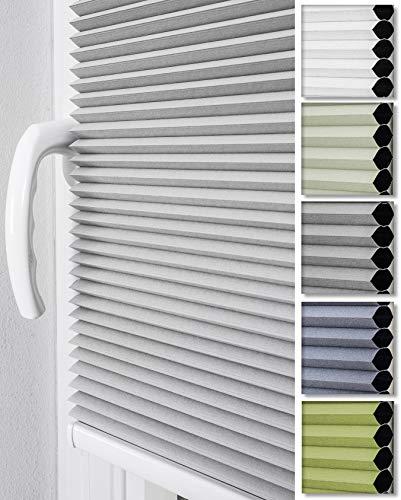 Home-Vision® Premium Doppelplissee Wabenplissee ohne Bohren mit Klemmträger / -fix (Weiß-Grau, B80cm x H120cm) Zweifarbig Blickdicht Sonnenschutz Jalousie für Fenster & Tür