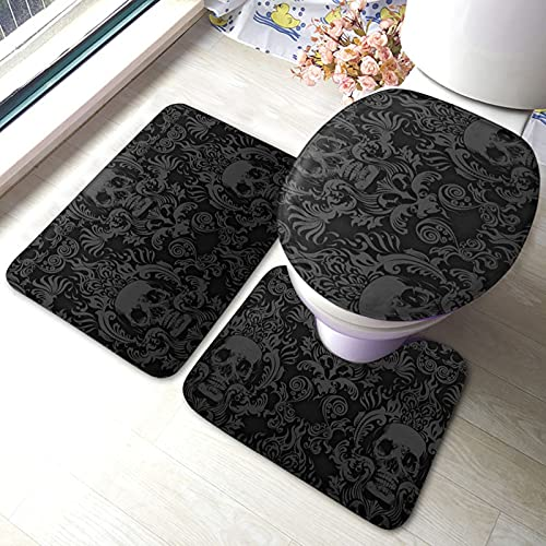 KAIYANJIXIE Black Skull Damask Goth Gothic Bath Mat Nature Watercolor Painting Floral Plant Leaves Bathroom Mat Set 3 Pieces Rug Toilet Seat Lid Cover Non Slip Mat Anti-Skid Pad