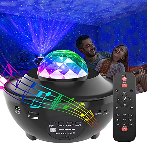 GeMoor Star Projector Night Light Projector Ocean Wave Projector Night Light Projector with Bluetooth Music Speaker for Kids Bedroom/Game Rooms/Home Theatre/Night Light Ambiance
