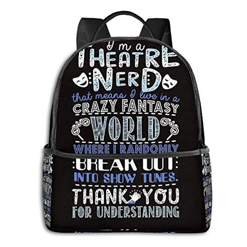 Hdadwy Theatre Nerd Funny Gift for Theatre Lovers Backpack Unisex School Daily Backpack Lightweight Casual Travel Outdoor Camping Daypack