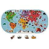 Janod- Mapa del Mundo Juguete de baño para niños pequeños-Manipulación y destreza-A Partir de 3años (JURATOYS J04719)