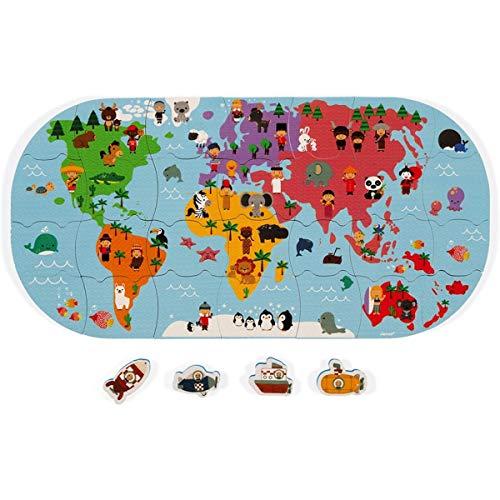 Janod J04719 Forscher-Karte für die Badewanne-Badespielzeug für Babys und Kleinkinder-Handhabung und Geschicklichkeit-Ab 3 Jahren