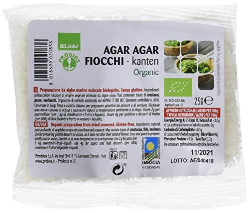 Probios Agar Agar Fiocchi Bio senza Glutine - Confezione da 12 x 25 g