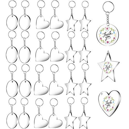 Cerchi in acrilico trasparente, 24 pezzi, portachiavi a cerchio da 5 pollici con ciondolo portachiavi per progetti fai da te e artigianato