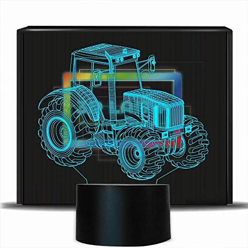 Preisvergleich Produktbild PONLCY Neuheit 3D Illusion Lampen LED Traktor Nachtlichter USB 7 Farben Sensor Schreibtischlampe für Kinder Weihnachten Geburtstagsgeschenke Dekoration