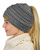 C.C BeanieTail Soft Stretch Cable Knit Messy High Bun Ponytail Beanie Hat, Gray/Light Gray Mix