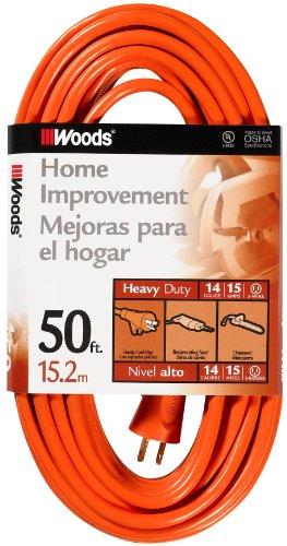 Woods 626 14/3 50-Foot Outdoor SJTW Vinyl Extension Cord (Orange)
