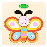 Cloudro Baby Educational Toys,Wooden Jigsaw Puzzles Early Learning Toy for Boys and Girls Gift Clearance,Cute Animals (Butterfly)