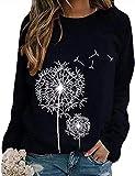 Damen Rundhals Sweatshirt Frauen Langarmshirt Bedrucktes Pullover Oberteil Tops Herbst Freizeit T-Shirt Bluse (P-Schwarz, M)