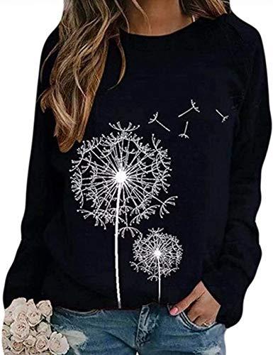 Damen Rundhals Sweatshirt Frauen Langarmshirt Bedrucktes Pullover Oberteil Tops Herbst Freizeit T-Shirt Bluse (P-Schwarz, L)