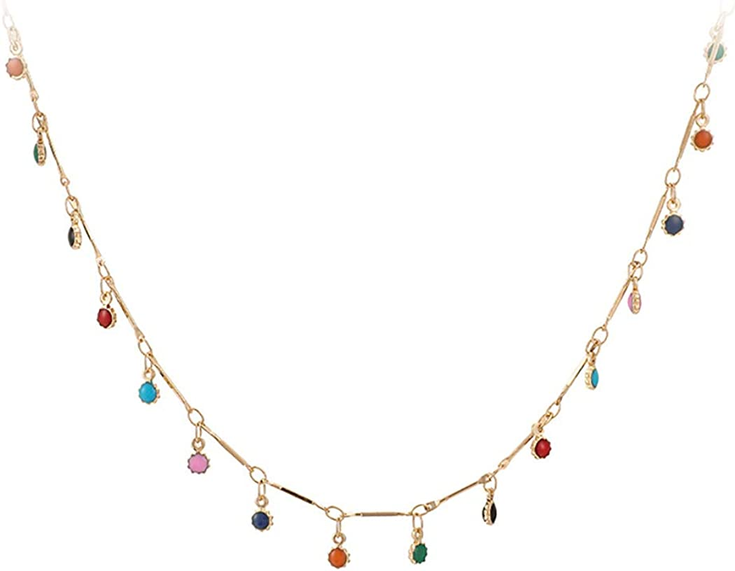 Acedre Choker Necklace Colorful Beaded Necklace Chain Boho Gold Beach Adjustable Dainty Accessory for Women and Girls