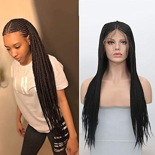 RDY 180% Density Black Micro Braids Synthetic Lace Front Wig 136 Braiding Styles Cornrows Half Box Braided Wigs Synthetic African Hair for Women with Baby Hair 18 Inch
