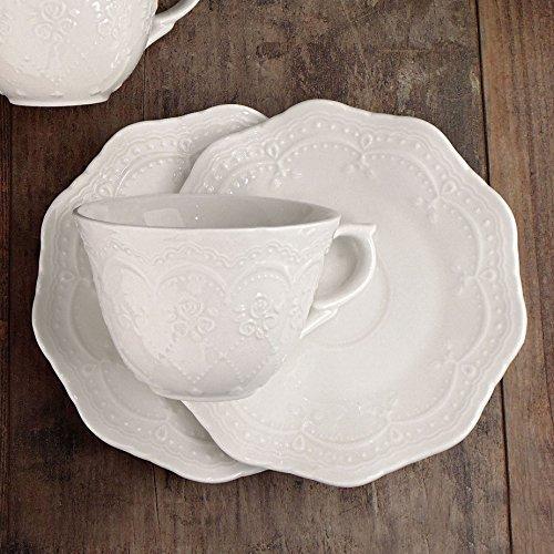 Set 6 Tazze da tè con piattino Shabby Chic Grace Collection Colore Bianco