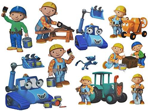 alles-meine.de GmbH 10 TLG. Set: Wandtattoo / Sticker + Fensterbilder -  Bob der Baumeister  - Wandsticker Aufkleber für Kinderzimmer - Jungen Baustelle / Baustellenfahrzeuge -..