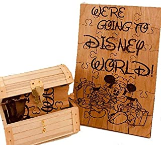 We're Going to Disney World Wooden 24 Piece Puzzle with Chest Mickey Mouse Magic Kingdom Travel Puzzle Announcement
