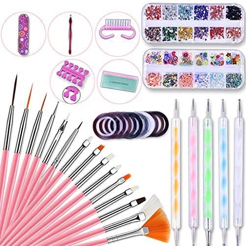 S-TROUBLE Nail Art Kit, Nail Art Tools Kit Set Juego de Pinceles para uñas con bolígrafo Puntero para uñas Cinta para pelar uñas Línea Nail Art Crystal Uñas Coloridas