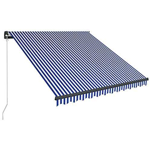 vidaXL Markise Einziehbar Manuell mit LED Gelenkarmmarkise Balkonmarkise Sonnenschutz Sichtschutz Terrasse Balkon 350x250cm Blau Weiß