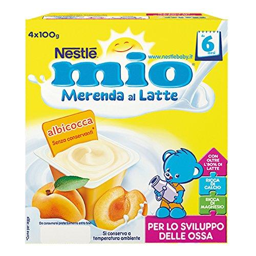Nestlé Mio Merenda al Latte Albicocca, da 6 Mesi, 6 Confezioni da 4 Vasetti, 24 Vasetti