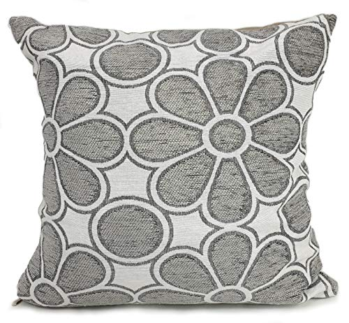 Cushions Large New Soft Chenille Daisy Scatter Cushions or Covers 5 colours (Silver, 17'x17' Filled cushion)