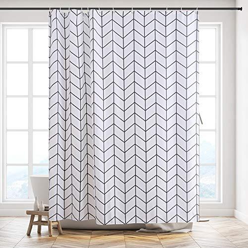 Furlinic Duschvorhang für Badewanne und Dusche in Badezimmer, Textiler Badvorhang Anti-schimmel aus Stoff Waschbar Wasserdicht, mit 12 Ringe 180x210, Fischgrätenmuster.