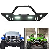 Rock Crawler Front Bumper w/LEDLight Winch Plate Black Textured for 2007-2019 Jeep Wrangler JK Wiring (Harness is...