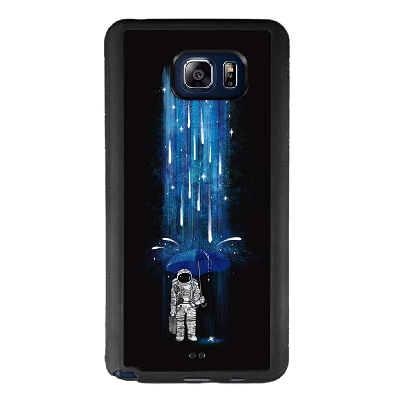 Case for Samsung Galaxy Note 5, Astronaut with Umbrella Anti-Scratch Hard Backplate Back Cover for Samsung Galaxy Note 5 Black Shock-Proof Protective Case [Anti-Slippery] yct7788080