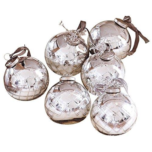 Loberon Weihnachtsschmuck 6er Set Gina, Glas, Eisen, H/Ø 10/9 cm, Silber