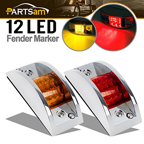 Partsam LED Marker Clearance Light Chrome Guarded Armored trailer RV 12LED Amber/Red (Pack of 2)