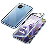 Funda Compatible con Xiaomi Mi 11, Carcasa Absorción Magnética con Armario Diseño, Aluminio Bumper Transparente Vidrio Templado Case Anti-Arañazos 360 Grados Cover,Azul