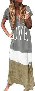 Womens Gradient Color Block Maxi Dresses, Patchwork V Neck Long Sleeve Fall Plus Size Loose Long Dress